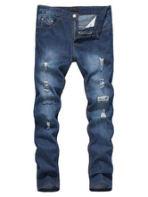 Blue Denim Jeans Long Straight Distressed Jeans For Men