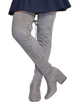 Over the Knee Boots Обнаженные круглые носки Эластичные ботинки Бедро Высокие ботинки для женщин