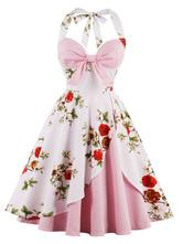 Vestido vintage halter com laçado sem mangas elegante de algodão misturado Verão com desenho de flor estampado