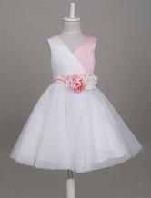 robe cortège enfant pas cher Tissu de satin avec ceinture longueur genou princesse col V sans manches détail zip personnalisée