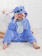 Disfraz Carnaval Stitch Onesie Kigurumi Pijama Franela azul para niños Ropa de dormir de invierno Mascota Animal Disfraz de Halloween