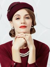 Cosplay Chapeau pour femme en laine bordeaux de fête chapeau  Déguisements Halloween