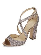 Frauen Goldene Sandalen Pailletten Peep Toe PU Chunky Block Heels Riemchen Frauen Sandalen