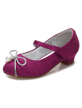 Flower Girls Shoes Purple Bows Chunky Heel Round Toe Pumps