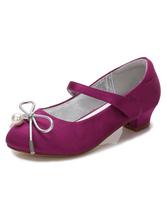 Цветочные девушки Обувь Фиолетовые луки Короткие пятки Круглые носовые насосы