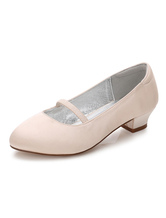 Flower Girls Shoes Champagne Round Toe Chunky Heel Pumps