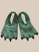 Обувь для обуви Kigurumi Kids Green Unisex Flannel Зимняя обувь Аксессуары для Хэллоуина