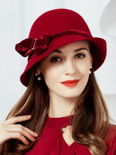 Vintage Cloche Hat Arcos de lã Mulheres Borgonha Acessórios de fantasia