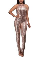 Pole Dance Costume Sequin Backless Sleeveless Pearl Pink Women Club Jumpsuit
