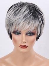 Cabelo Humano  para mulher chique & moderna cabelo falso 8 polegadas Pixies & Boycuts preta