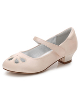 Champagne Flower Girls Shoes Chunky Heel Round Toe Cut Out Pumps
