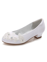 Flower Girls Shoes White Round Toe Chunky Heel Flowers Pumps