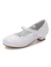 Flower Girls Shoes White Lace Round Toe Chunky Heel Pumps