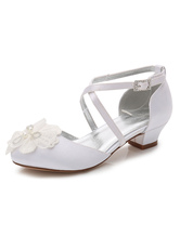 Flower Girls Shoes White Round Toe Chunky Heel Beaded Pumps