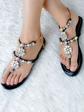 Black Flat Sandals Women Shoes Rhinestones Strap &Strappy Boho Sandal Shoes