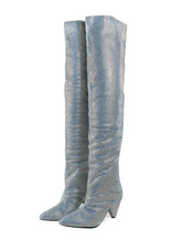 fast delivery good texture factory authentic Women Wide Calf Boots Glitter Boots Silver Pointed Toe Rhinestones ...