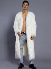 Белое пальто Мужское натуральное пальто шерсти V с длинным рукавом длинное зимнее пальто