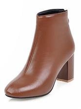 """Botas Curtas para mulher com fecho informais 3"""" Salto de PU dedo do pé quadrado 26-29cm térmicas Sola de Borracha"""