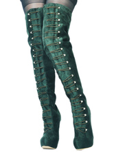 Stivali sopra al ginocchio verde scuri con rivetti chic & moderni stivali tacco a fino monocolore facile da indossari con Tubo Alla coscia(>65cm)