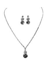 Hochzeits-Schmuck-Set Silber Strass Legierung Braut Anhänger Halskette mit Ohrhänger