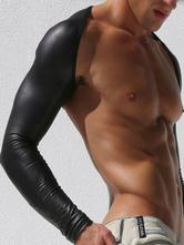 Men Sexy Undershirt Black Long Sleeve Lycra Spandex Gay Costume