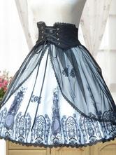 Gothic Lolita Skirt Neverland Chiffon Pleated Printed Black Lolita Bottom Original Design