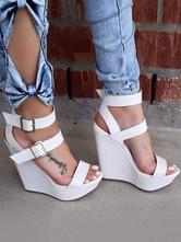 Women's White Wedge Sandals Women Shoes Open Toe Platform Open Toe Buckle Detail Sandal Shoes