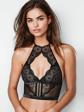 Black Lace Bra Halter Cut Out Sexy Lingerie For Women