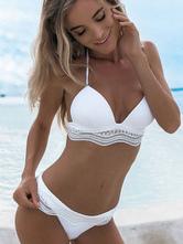 Bikini monocolore Costumi da Bagno Bianco  Costumi vita alta bretelle Abbigliamento  Donna pizzo vacanziera di poliestere donna Vita bassa 2-Pezzi
