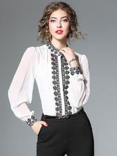 T-shirt chique & moderno com dois tons gola redonda de gaze com mangas compridas com bordado preto