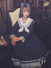 Sailor Lolita OP One Piece Dress Long Sleeve Ruffles Bows Sailor Collar Two Tone Dark Navy Lolita Dress