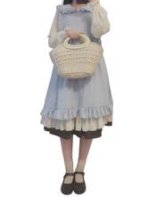 Rococo Lolita Outfits Aqua Long Sleeve Turndown Collar Ruffles Dress With Jumper Skirt
