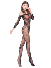 Black Women Bodystocking Off The Shoulder Print Crotchless Sheer Women Spring Lingerie
