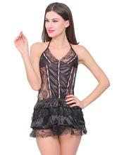 Black Lace Chemise Halter Backless Ruffles Sexy Women Nightwear
