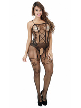 Black Sexy Bodystocking Crotchless Strappy Women Lingerie