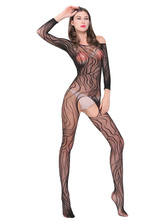 Women Black Bodystocking Off The Shoulder Cut Out Print Sheer Spring Women Lingerie