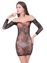 Black Sexy Chemise Off The Shoulder Fishnet Women Lingerie