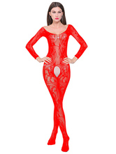 Women Sexy Bodystocking Red Crotchless Low Back Long Sleeve Lingerie