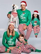Семейные рождественские пижамы Дети Зеленые зеленые брюки с топ-унисекс Утро Pjs
