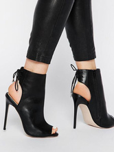 Zapatos estilo moderno de de punter Peep Toe negra de tacón de stiletto Primavera para pasar por la noche