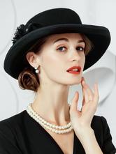coffure/chapeau rétro de cosplay élégante de fêtes de fête en laine en laine chapeau noire pour adultes pour femme