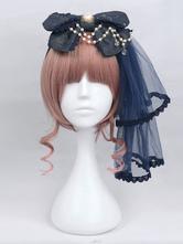 Lolita Copricapo blu scuro classico & tradizionale fibra di poliestere con fiocchi Tea party casuale