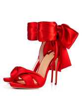Prom Heels Red Satin Ankle Strap Lace Up Sandals