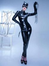 Women Black Catsuit Sexy High Collar Zipper Long Sleeve 3 Piece Clubwear