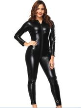 Black Pole Dance Costume High Collar Long Sleeve Jumpsuit For Women