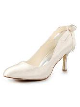 chaussures de mariée en satin à petits talons escarpins femme avec ruban