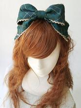 coiffure lolita classique imprimé géométrique écossaise jacquard avec passepoil plissée bleu marine foncée vert foncée bordeaux Tea party