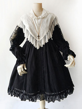 Classic Lolita Cloak Infanta Lace Ruffles Turndown Collar White Lolita Top