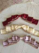 Classic Lolita Brooch Infanta Bows Floral Print Champagne Lolita Accessories