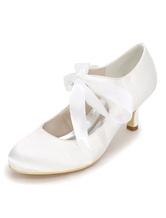 Chaussures de mariage blanc Satin Round Toe lacent des chaussures de mariée  femmes Talons chaton 9754b5c18001